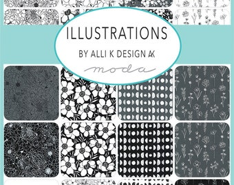 Illustrations by Alli K Design for Moda - Pre-Cuts - Mini Charm, Charm, Layer Cake, or FQ Bundle
