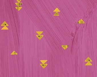 Wish by Carrie Bloomston for Windham Fabrics - Floating Triangles - Hot Pink - 51744M-6 - Select a Size - Cotton Quilt Fabric