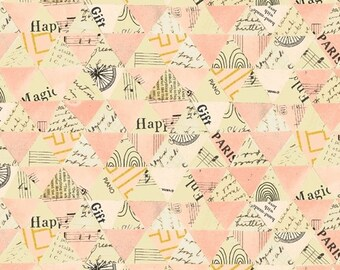 Wish by Carrie Bloomston for Windham Fabrics - Collaged Triangles - Millennial Pink - 51743M-4 - Select a Size - Cotton Quilt Fabric