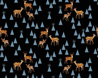 Holiday Homies by Tula Pink for Free Spirit - Bambi Life - Blue Spruce - 1/2 Yard Cotton Quilt Fabric 717