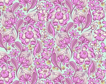 Chipper by Tula Pink for Free Spirit - Wild Vines - Raspberry - 1/2 Yard Cotton Quilt Fabric 516