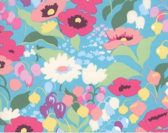 Regent Street Lawn 2019 by Moda - English Garden - Turquoise - Blue - Cotton Quilt Fabric - Choose Your Size