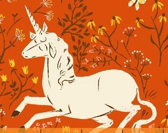 Heather Ross Far Far Away Reprint Windham Fabrics - Orange Unicorns - 1/2 yard cotton quilt fabric 516