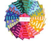 All Stars by Tula Pink - Poms Stripes - Fat Quarter - FQ - cotton quilt fabric bundle - 24 prints
