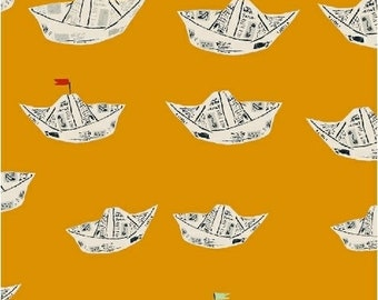 Far Far Away 2 by Heather Ross for Windham Fabrics - 51202-11 - Newspaper Boats - Orange - Cotton Quilt Fabric - Choose Your Size