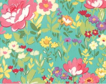 Regent Street Lawn 2018 by Moda - English Garden - Turquoise - Cotton Quilt Fabric 2020