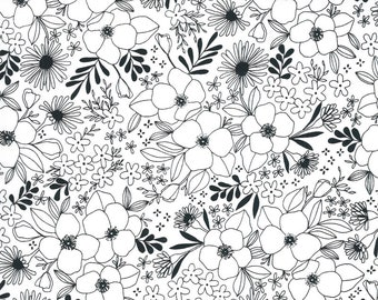Illustrations by Alli K Design for Moda - Wild Florals - Paper White - 11503 11 - 100% Cotton Quilt Fabric - Choose your Size