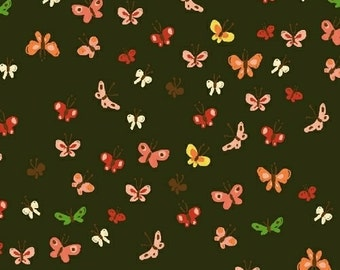 Tiger Lily by Heather Ross for Windham Fabrics - Butterflies - Mud - 1/2 Yard Cotton Quilt Fabric 516