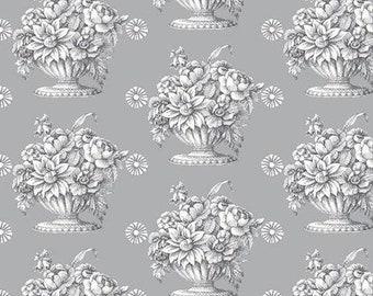 "Fall 2018 by Kaffe Fassett for Free Spirit Fabrics - Stone Flower - Grey - 1/2 Yard - 108"" Cotton Quilt Back Fabric"