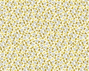 Bubbies Buttons and Blooms by Kori Turner Goodhart - Sprinkle Hearts - Curry - 52088-2 - FQ Half Yard - Cotton Quilt Fabric K
