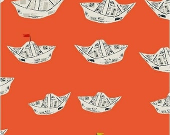 Far Far Away 2 by Heather Ross for Windham Fabrics - 51202-10 - Newspaper Boats - Red Orange - Cotton Quilt Fabric - Choose Your Size