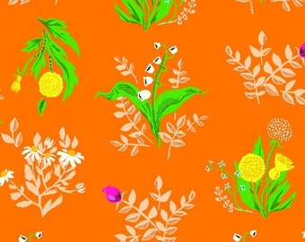 Heather Ross 20th Anniversary Reprint for Windham Fabrics - Orange Bouquet from Sleeping Porch - Select a Size - Cotton Quilt Fabric