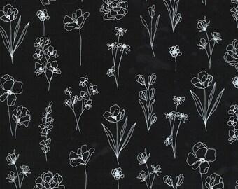 Illustrations by Alli K Design for Moda - Floral Doodle - Ink Black - 11505 25 - 100% Cotton Quilt Fabric - Choose your Size