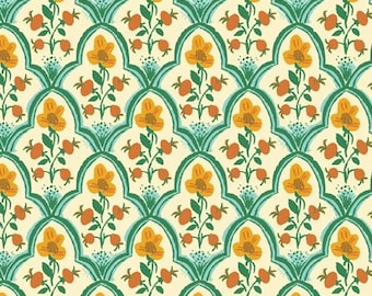 Malibu by Heather Ross for Windham - Wood Block - Ocean - 52151-1 - Select a Size - Cotton Quilt Fabric