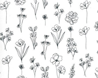 Illustrations by Alli K Design for Moda - Floral Doodle - Paper White - 11505 11 - 100% Cotton Quilt Fabric - Choose your Size