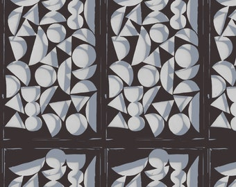 Vestige by Bookhou for Anna Maria Horner's Conservatory for Free Spirit - Shapes - Charcoal - 1/2 yard Cotton Quilt Fabric