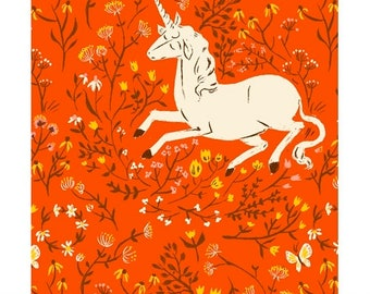 Heather Ross 20th Anniversary Reprint for Windham Fabrics - Orange Unicorns - Select a Size - Cotton Quilt Fabric
