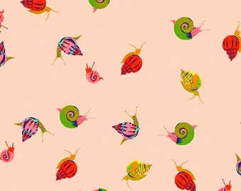 Heather Ross 20th Anniversary Reprint for Windham Fabrics - Peach Snails from Sleeping Porch - Select a Size - Cotton Quilt Fabric
