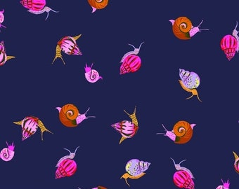 Heather Ross 20th Anniversary Reprint for Windham Fabrics - Indigo Snails from Sleeping Porch - Select a Size - Cotton Quilt Fabric