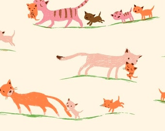 Heather Ross 20th Anniversary Reprint for Windham Fabrics - Cream Morning Cats from Tiger Lily - Select a Size - Cotton Quilt Fabric