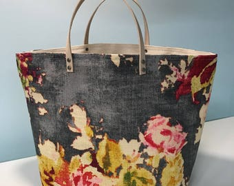 f8657aa12726 65 South bucket project knitting bag - paine art floral art canvas on grey  woven with leather handles