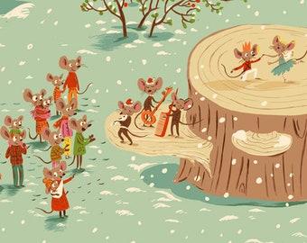 Sugarplum by Heather Ross for Windham Fabrics - Christmas Mice - Aqua - 50165-1 - 1/2 Yard FLANNEL Quilt Fabric