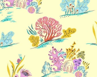 Malibu by Heather Ross for Windham - Coral - Blue - 52147-10 - Select a Size - Cotton Quilt Fabric