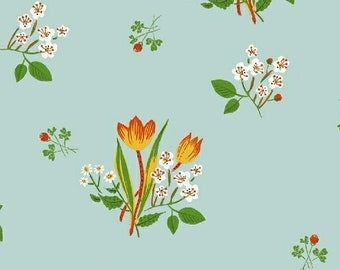 Kinder by Heather Ross for Windham Fabrics - Spring Blooms - Light Blue - 1/2 Yard Cotton Quilt Fabric