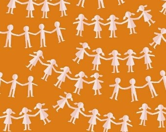 Kinder by Heather Ross for Windham Fabrics - Paper Dolls - Orange - 1/2 Yard Cotton Quilt Fabric