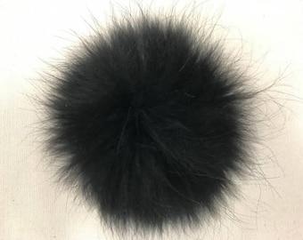 Snap on Raccoon XL Pom Pom 15 cm - Black