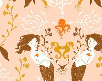 Heather Ross 20th Anniversary Reprint for Windham Fabrics - Blush Mermaids from Mendocino - Select a Size - Cotton Quilt Fabric