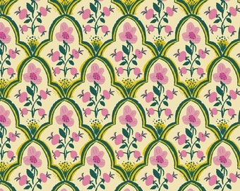 """COTTON LAWN 44/45"""" - Malibu by Heather Ross for Windham - Wood Block - Pink - 52151L-7 - Select a Size - Cotton Lawn Quilt Fabric"""