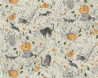 Spirit of Halloween by Cori Dantini for Free Spirit - In the Patch - Blue - PWCD003.XGREY - 100% Cotton Quilt Fabric - Choose your Size