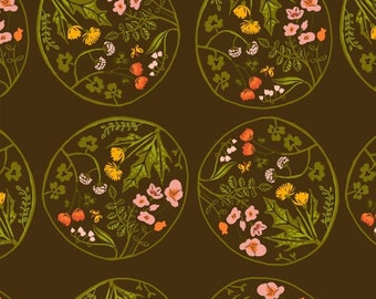 Tiger Lily by Heather Ross for Windham Fabrics - Floral Medallion - Brown - 1/2 Yard Cotton Quilt Fabric 516