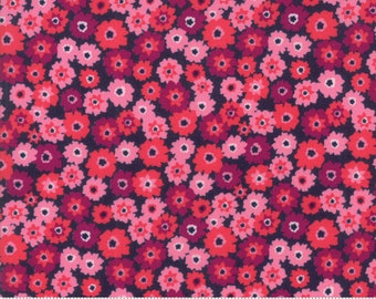 SALE Rosa by Crystal Manning for Moda - Tarts - Navy - Dark Blue - Pink - Cotton Quilt Fabric - Choose your Size