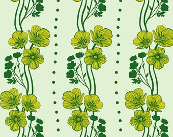 Triple Take - Anna Maria's Conservatory - New Buttercups - Lime - Fat Quarter or Yardage Cotton Quilt Fabric