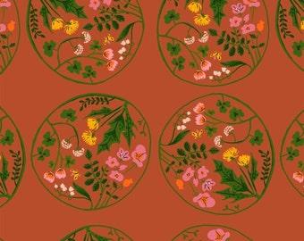 Tiger Lily by Heather Ross for Windham Fabrics - Floral Medallion - Red - 1/2 Yard Cotton Quilt Fabric 516