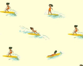 Malibu by Heather Ross for Windham - Tiny Surfers - Cream - 52146-5 - Select a Size - Cotton Quilt Fabric