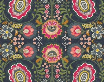 Indie Folk by Pat Bravo for Art Gallery Fabrics - Khokhloma - Gloom- IFL-56300 - Quilt Fabric - Fat Quarter - Cotton Quilt Fabric