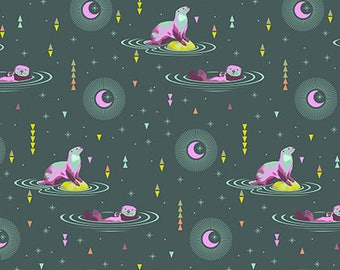Spirit Animal by Tula Pink for Free Spirit - Otter and Chill - Lunar Glow - Cotton Quilt Fabric 8-21