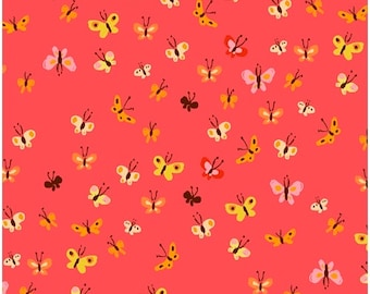 Heather Ross 20th Anniversary Reprint Windham Fabrics - 40933A-9 Coral Butterflies Tiger Lily - Cotton Quilt Fabric FQ BTHY Yard 921