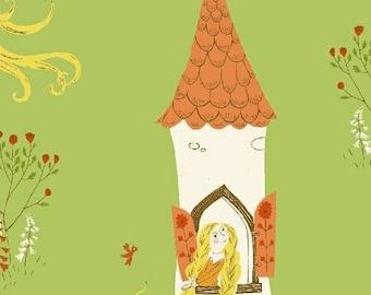 Far Far Away 2 by Heather Ross Windham Fabrics - 51197-1 - Rapunzel - Green - Cotton Quilt Fabric - FQ BTHY Yard 921