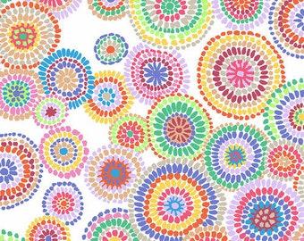 Kaffe Fassett Collective - Mosaic Circles - White - PWGP-176 - cotton quilt fabric - FQ BTHY Yard 921