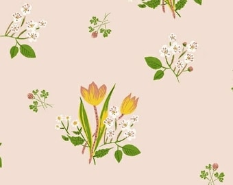 OOP Kinder by Heather Ross for Windham Fabrics - Spring Blooms - 43482-1 Pink - FQ BTHY Yard Cotton Quilt Fabric 921