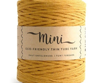 Mini Tube - Yellow  80/20 Recycled Cotton & Polyester Twisted Cord Tube Yarn by Lankava