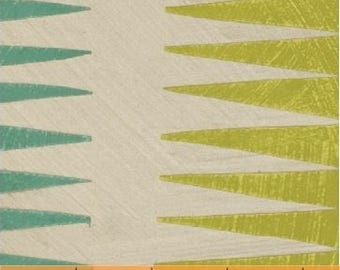Dreamer by Carrie Bloomston Windham Fabrics - Pueblo Stripe - Turquoise & Moss Green - FQ BTHY Yard Cotton Quilt Fabric 8-21