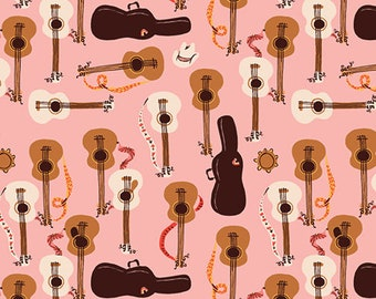Pre-Order - Far Far Away 3 by Heather Ross for Windham - Guitars - Pink - 52754-1 - Select a Size - Cotton Quilt Fabric