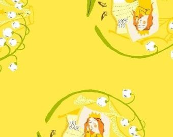 Far Far Away 2 by Heather Ross Windham Fabrics - 51198-4 - Sleeping Beauty - Yellow - Cotton Quilt Fabric - FQ BTHY Yard 921