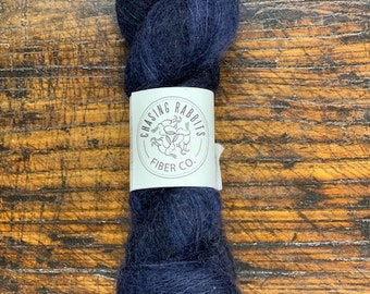 Royal Navy Blue Gossamer Lace Mohair Silk Yarn by Chasing Rabbits Fiber Co. - Skein of Hand-Dyed Lace Weight Yarn