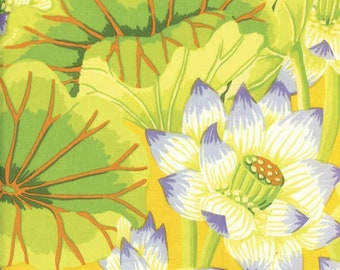 HTF OOP Kaffe Fassett - GP93 - Lake Blossoms Yellow Perwinkle - 1/2 yard cotton quilt fabric